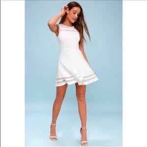 LULUS mesh inset fit and flare mini dress
